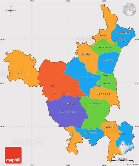 political simple map  haryana cropped