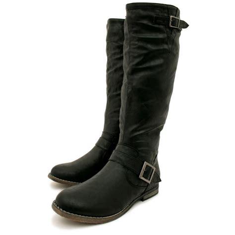 Womens Black Flat Leather Style Knee High Buckled Biker