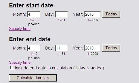 date calculator world printable chart