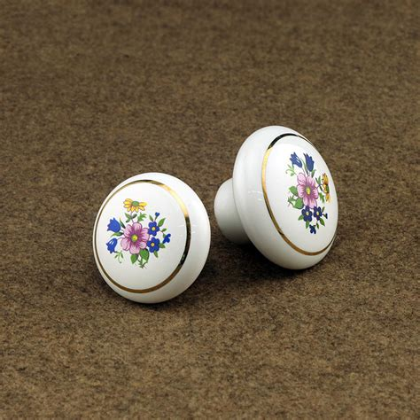 white cabinet handles and knobs 10pcs flower print white ceramic cabinet porcelain knobs