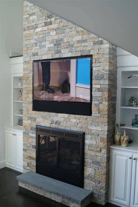 tv recessed   stone fireplace  chatham