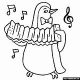 Instruments Musical Coloring Instrument Penguin Accordion Pages Playing Drawing Animals Piccolo Thecolor Penguins Lion Sheet Getdrawings Sketch Violin Letter Starting sketch template