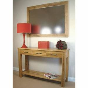 Baumhaus Mobel Solid Oak 3 Drawer Console Table Furniture123