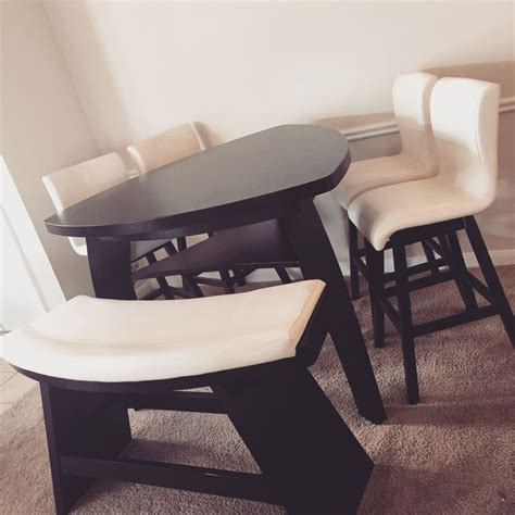 triangle dining table set our triangular dining table with two tone bench and swivel