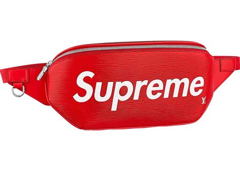 louis vuitton  supreme bumbag epi red
