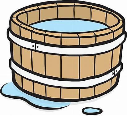 Bucket Water Clipart Wooden Pail Vector Clip