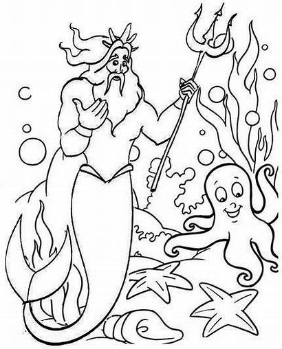 Coloring Triton King Mermaid Ariel Coloringpagesfortoddlers Coloringfolder