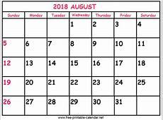 Print Calendar 2018 August