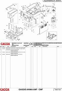 Gaggia Anima Deluxe Parts Diagram User Manual
