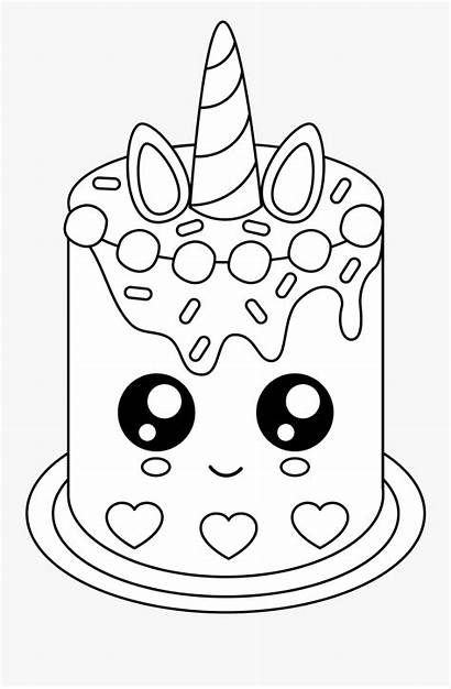 Unicorn Coloring Cake Birthday Clipart Drawing Sheet