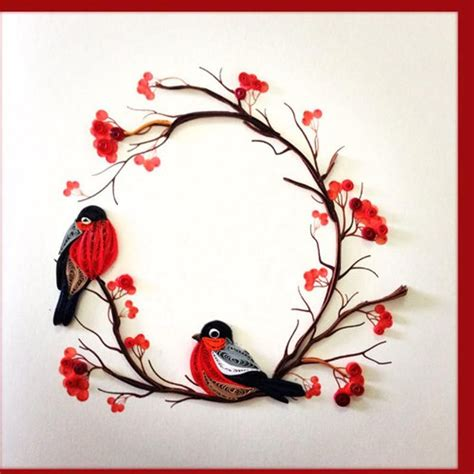 couple birds quilling card birthday greeting card