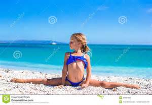 Cute Little Girl On Beach Leg Splits