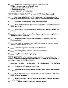 romeo and juliet test and answer key by classroom quips