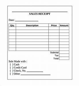 Sample sales receipt template 17 free documents in word for Purchase receipt template