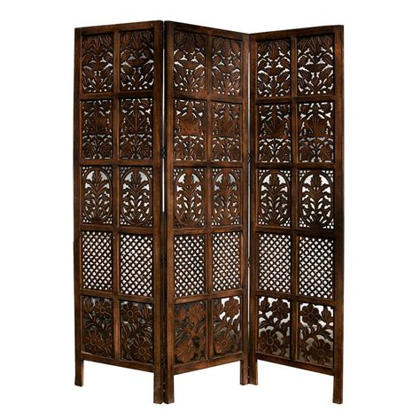 carved patterned mango wood room divider three panel screen accent screens room