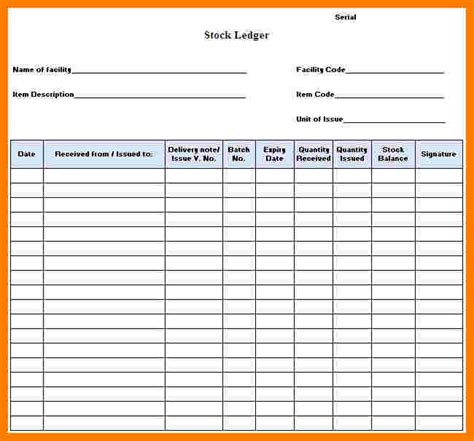stock ledger form ledger review