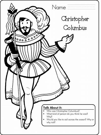 Columbus Christopher Coloring Pages Printable Activity Sketch