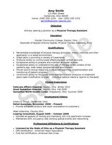 physical therapy resume objective physical therapy assistant resume exle resumes design