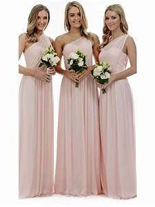 Blush pink bridesmaid dresses, one shoulder bridesmaid ...