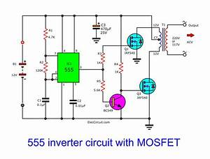 Make Simple 555 Inverter Circuit Using Mosfet