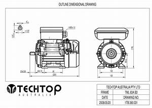 Techtop 0 18 Kw Motor 240v 1 Phase 4 Pole  1320 Rpm  Foot