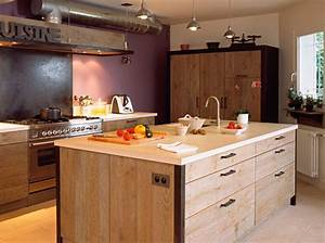 Ilot cuisine bois brut le bois chez vous for Idee deco cuisine avec meuble bois brut