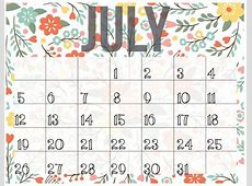July 2018 Calendar Cute calendar month printable