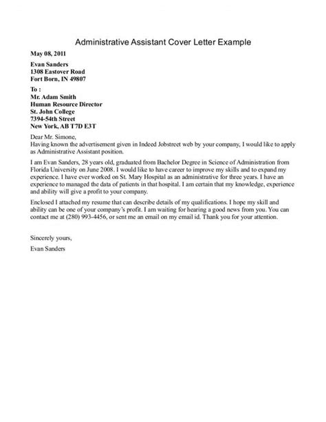 Entry Level Assistant Cover Letter by 27 Administrative Assistant Cover Letter Exles