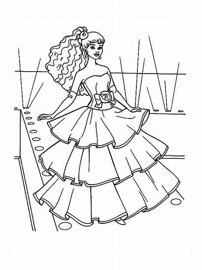 Barbie Coloring Doll Evening Gown Drawing Colour