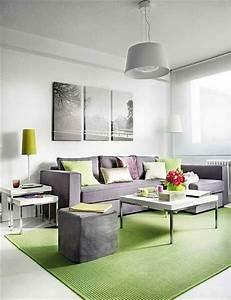 Salon Vert De Gris : d coration de salon moderne en vert et gris 20 exemples ~ Melissatoandfro.com Idées de Décoration