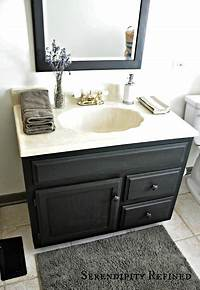 painting bathroom vanity Serendipity Refined Blog: How to Update Oak and Brass Bathroom Fixtures With Spray Paint and ...