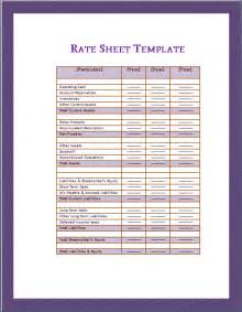 Rate Sheet Template Sle Rate Sheet Images