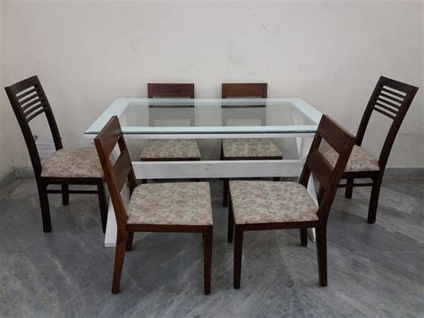 glass top 6 seater dining table used furniture for sale