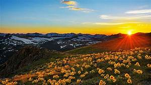 Sunset, Sun, Rays, Landscape, Stone, Peaks, Mountain, Meadow, With