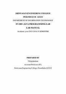 It2305 Java Programming Lab Manual Download Free
