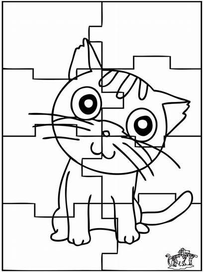 Puzzle Cat Coloring Puzzles Chat Puzzel Colorare