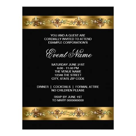 Black and Gold Corporate Party Event Template 6 5x8 75