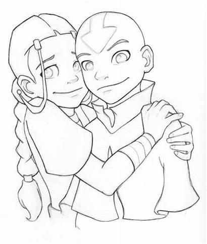 Katara Aang Hugging Drawing Inked Hug Anime