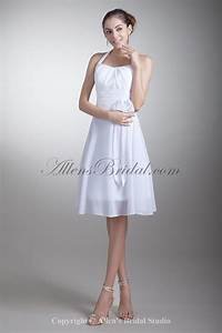 allens bridal chiffon halter neckline knee length a line With short halter wedding dresses