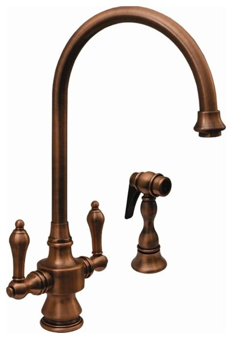 rustic kitchen faucets iii 8 13 in dual handle faucet pewter rustic