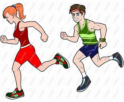 Runner Cartoon Clip Runners Clipart Athlete Track