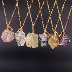 Fashion Jewelry Natural Fluorite Lemon Quartz Necklaces ...