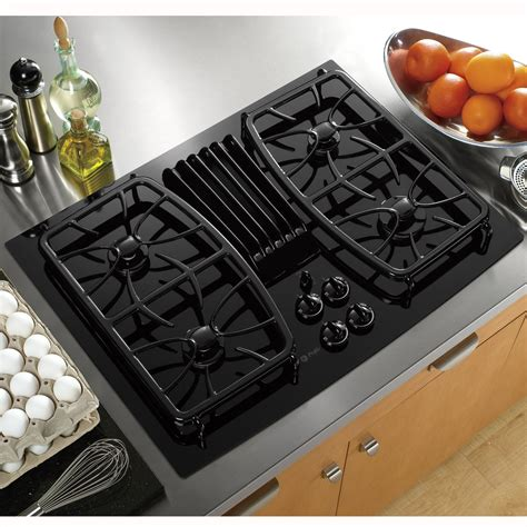 ge profile gas cooktop ge profile pgp989dnbb 30 quot gas ceramic glass downdraft