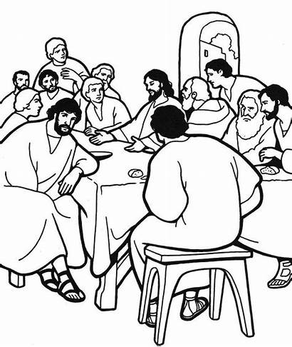 Supper Coloring Last Pages Bible Clip Sunday