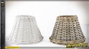 Abat Jour En Osier : lot de deux abat jour en osier tress forme conique blanc et osier naturel 26 cm ~ Nature-et-papiers.com Idées de Décoration