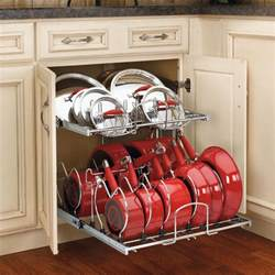 two tier pots pans and lids organizer for kitchen cabinet heavy duty chrome plated wire frame