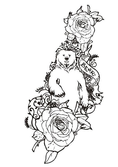 Coloriage Tatouage D'ours Avec Des Roses