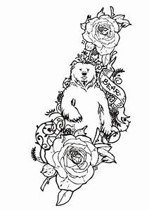 Dessin D Hirondelle Pour Tatouage : coloriage tatouage d 39 ours avec des roses ~ Melissatoandfro.com Idées de Décoration