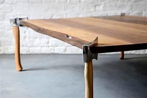 woodsman, axe, table