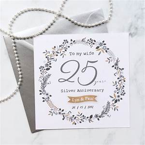 personalised 25th wedding anniversary card silver With images of 25th wedding anniversary cards